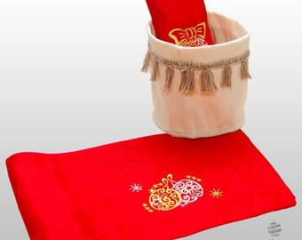 Luxury Embroidered Christmas Lines Table Runner with Linen Basket - Pack of 2 units - Large hem