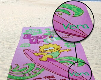 Kids Boys Girls Gift - Personalized Surf Up Pink Beach Bath Pool Towel - The Simpsons