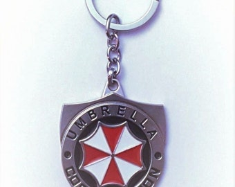 "Resident Evil: Umbrella Corporation Silver Shield Name and Logo 5"" Enamel Key-chain"