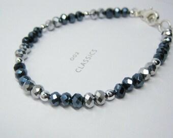 Blue Hemitate / Metal Silver Bracelet