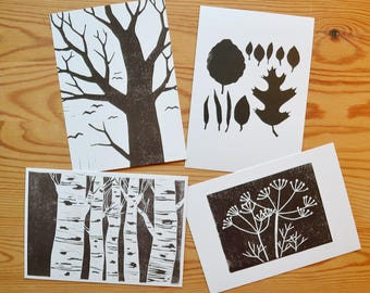 "Postcard set of 4 ""trees and leaves"""
