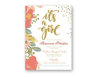 Floral Baby Shower Invitation - Printable Baby Shower Invitation - Digital Invitation - Digital File - It's A Girl