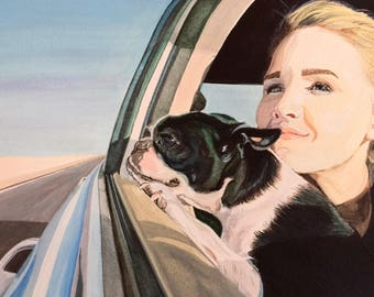 You and Your Pet Custom Portrait, Dog and Owner Art, Dog Art, Dog Painting