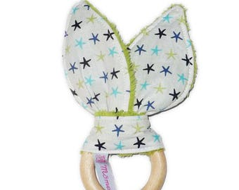 Rattle Teether wooden rabbit ears in cotton - stars - (with Bell)