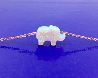 Reconstitute White Opal Baby Elephant Necklace, Good Luck Symbol, Good Luck Amulet Necklace *NEW*