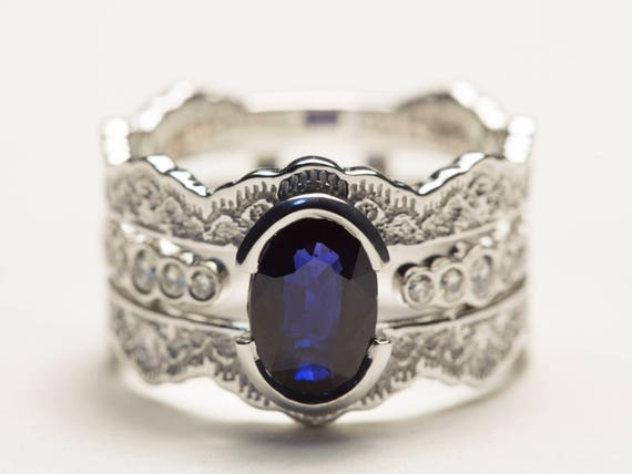Wedding Ring Set Sapphire Bridal Diamond Sets Blue