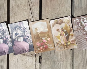 Set of 5 cards postcards lover vintage n2