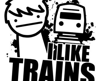 Trains # 10- 8 x 10 - T Shirt Iron On Transfer - I like Trains
