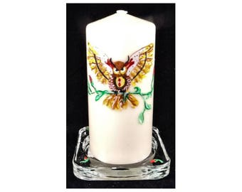 Owl is handpainted on a pillar wax LED candle