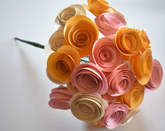 Blush Pink Wedding, Blush Pink, Ivory, and Gold Bouquet, Paper Flower Bouquet