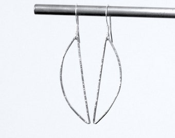 Hammered Sterling Silver Eco Friendly Semi Circle Earrings