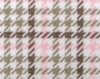 Cuddle Soft - Houndstooth - Per Yd - Shannon Cuddle - Robert Kaufman - Pink Grey Houndstooth