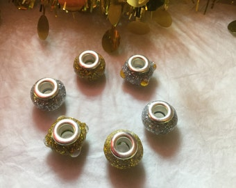 Pandora Charm Style Paper Beads - Faux Silver and Gold