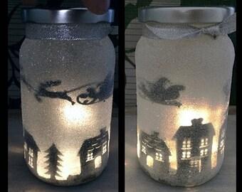 Night light, mood lighting, Santa over Houses in a jar, Fairy Jar, Glitter Jar, Christmas, light up jars, mason jars