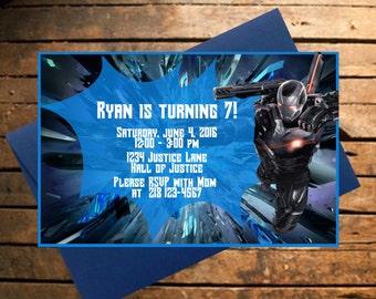 Downloadable Avengers War Machine Themed Birthday Invitation