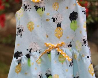 Girls sun dress,girls sheep dress,toddler lamb dress,toddler sundress,girls summer dress,girl polka dot dress,girls spring dress,girls dress