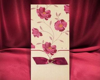 Floral wedding invitation card with satin ribbons, Free printing