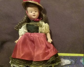 """Vintage Portuguese? Doll 8""""tall in traditional dress."""