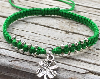 Clover Bracelet, Clover Anklet, Adjustable Cord Macrame Friendship Bracelet, Macrame Jewelry, Gift for Her, Four Leaf Clover, Lucky Charm