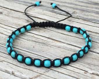 Turquoise Bead Bracelet, Boho Bracelet, Adjustable Macrame Friendship Bracelet, Macrame Jewelry, Gift for Her, Beaded Anklet, Surf Bracelet