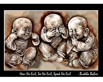 Buddha Babies Watercolour - Canvas/Decal/Vinyl/Poster