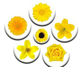 A pack of 6 yellow flowers theme Pattern weights Ideal for weighing down patterns on delicate fabrics no need for pins TV sewing Bee