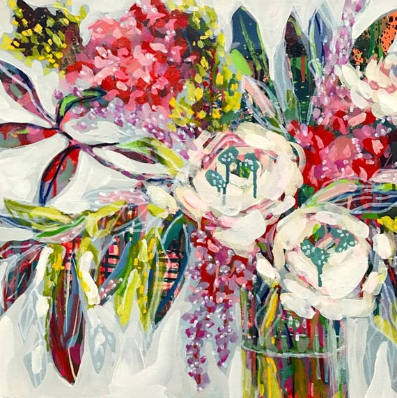 "Creamy Rose Painting Original Abstract Floral Flower Art, eucalyptus, hydrangea and lilacs, Acrylic Canvas 20"" x 20"" by Amanda Evanston"