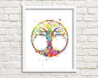 Tree illustration, nature art, magical tree poster, modern multicolored original decoration, wedding gift idea