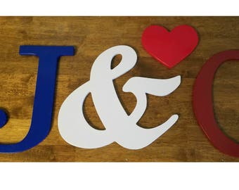 Wedding Letter Cutout, Guestbook, Wedding Letters, Wedding Package (Two wooden letters, Ampersand, and heart) Wedding/Anniversary/ Guestbook
