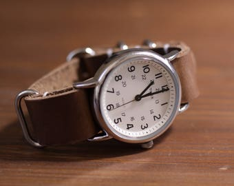 Horween NATO Watchband -  Natural CXL Leather