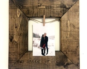Rustic Clothespin Picture Frame / Photo Display - Wedding Display - Clothesline Collage - Includes line and small pins 13x13