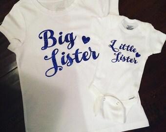 Little Sister Big Sister Matching Tees Glitter Newborn Toddler Matching Set Baby Shower Gift Announcement