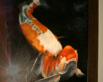 Kiss KOI Oil Painting, FISH landscape Living Room Decor,Wall Art Painting, Palette Knife Painting,Flower, Modern Oil Painting