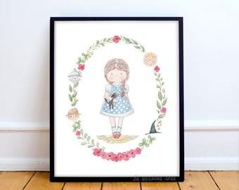 Girls room prints, Wizard of Oz, Baby girl nursery decor, Fairy princess wall art, watercolor nursery prints, Kids room art