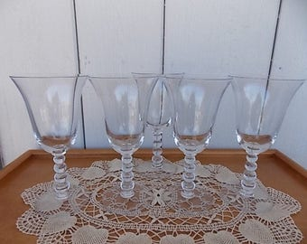 Vintage Candlewick Water Goblets set of 5 from 1930's.