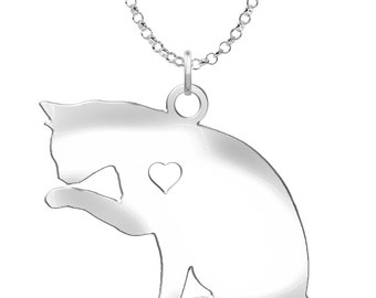 Grooming Cat Necklace | Solid Sterling Silver | Grooming Cat Silhouette Charm | Personalized Cat Jewelry | Grooming Cat Earrings