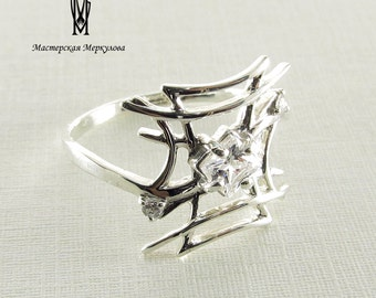 Sterling silver ring with cubic zirconia stamped 925 ring quadratic cubic zirconia ring , white cubic zirconia ring,elegant ring for her