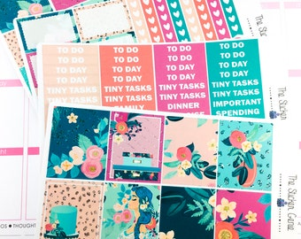 Aquamarine Gardens Weekly Kit | Planner Stickers, Weekly Kit, Aqua weekly kit, spring weekly kit, floral weekly kit, girl boss weekly kit