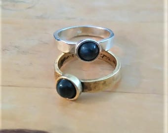 Tin with natural blue agate solitaire ring