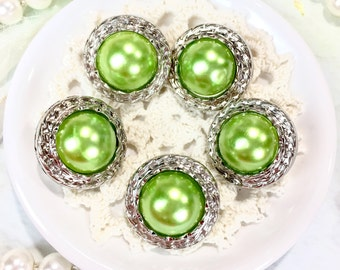 Pearl Buttons/Vintage Style Buttons/Green Buttons/Shank Buttons/Great for sewing projects, shirt, journal, wedding decor, altered projects
