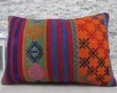 Anatolian Turkish Kilim Pillow Geometric Handwoven Kilim Lumbar 16x24 Decorative Kilim Cushion Home decor Pillow Kilim Lumbar Turkey Pillow