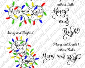 2 Designs, Merry and Bright svg, Merry and Bright, Christmas Bulbs svg, Christmas bulb, Christmas shirt, Christmas svg, Cricut, Silhouette