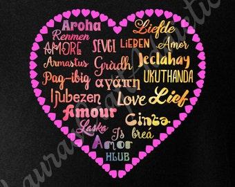 Love MultiLingual svg dxf pdf cut files for Silhouette Cricut, Love svg, Heart svg, Valentine svg, Heart dxf, Valentine shirt, love appliqué