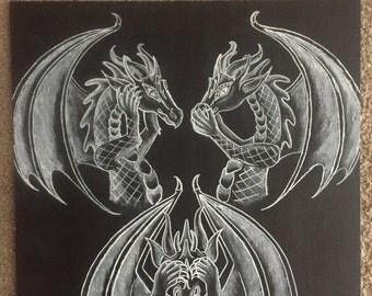 See Hear Speak no Evil Custom Dragon Chalkboard