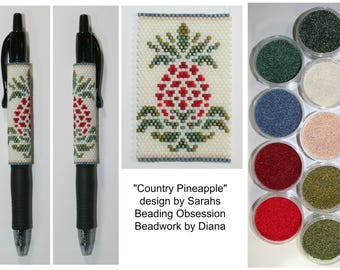 Country Pineapple by Sarahs Beading Obsession beaded pen kit (pattern sold separately)