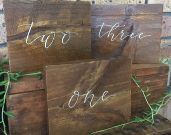 Wood Table numbers - Reclaimed timber