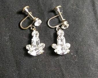 Rhinestone Candle Shaped Silver Toned Screwback Vintage Earrings