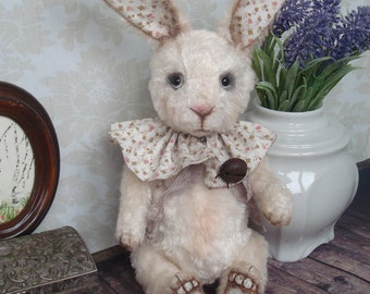 Rabbit Angie, 9.8 inches, Artist teddy bear, OOAK,funny plush rabbit, rabbit plush, Easter bunny, vintage bunny, collection toy