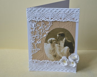 Wedding card, vintage style card, Anniversary card