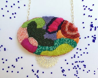 Rainbow embroidered necklace, statement necklace, embroidered jewelry, beaded necklace, one of a kind necklace